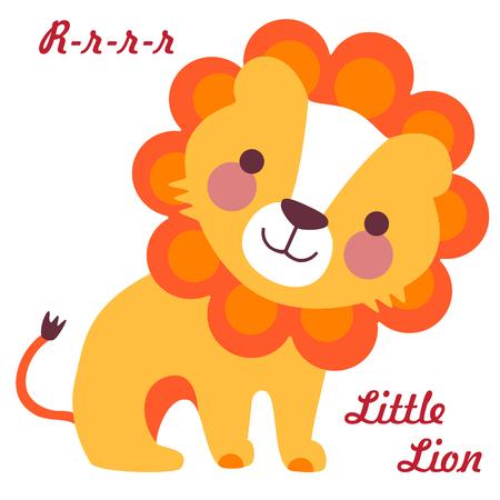 Ilustración del vector del pequeño león lindo. Bebé León de la historieta