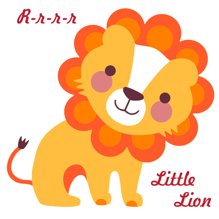 Vector illustration of cute little lion. Cartoon baby lion Illustration
