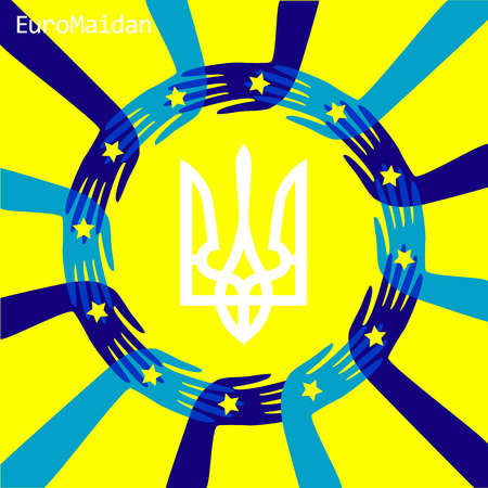 european: Euro Maydan concept; European Union flag; Protest symbol; People unity; Ukrainian strike; Trident, Tryzub