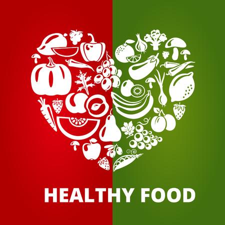 alimentacion sana: Concepto de alimentos saludables. Forma de corazón con verduras orgánicas y frutas iconos. Ilustración vectorial