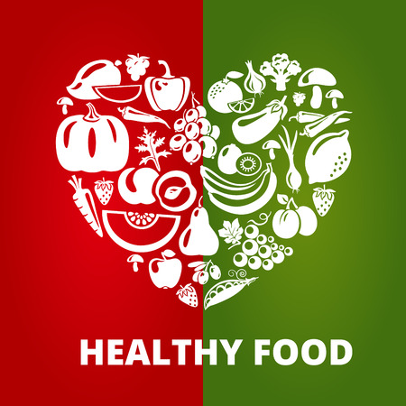product background: Healthy food concept. Heart shape with organic vegetables and fruits icons. Vector illustration