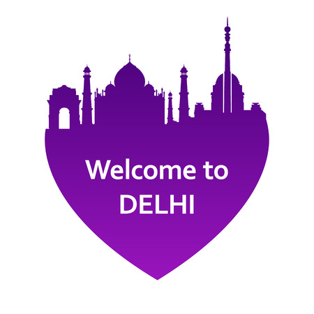 new delhi: Vector illustration of Delhi skyline in heart shape. Welcome to Delhi