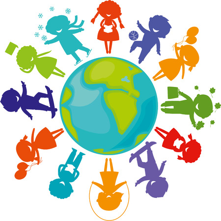 international students: Cute children silhouettes around the World. Earth Planet with colored children silhouettes. Illustration