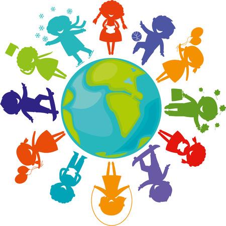 Cute children silhouettes around the World. Earth Planet with colored children silhouettes. Illustration
