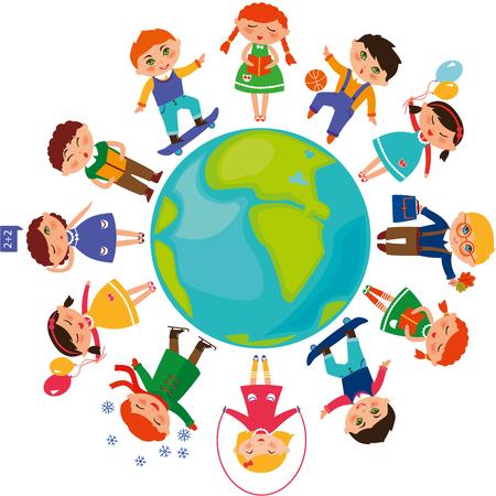 世界中のかわいい子供たち。  イラスト・ベクター素材