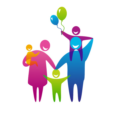 three children: Happy family concept: father, mother and three children.