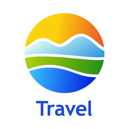 観光産業のためのロゴ: ホテル、旅行代理店、屋外の会社。