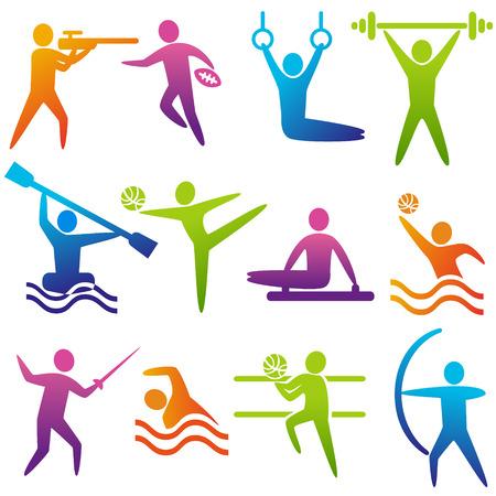 Set van sport iconen: schieten, rugby, gymnastiek, Amerikaanse, voetbal, powerlifting, kajakken, kanoën, barbell, gewichtheffen, waterpolo, boogschieten, schermen, zwemmen, volleybal, Olympische Spelen