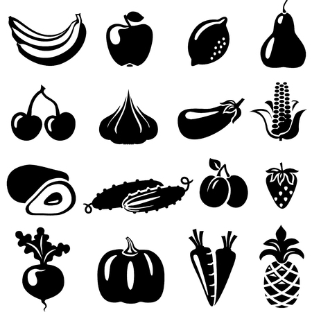 beets: Set of fruits and vegetables: banana, apple, lemon, pear, cherry, pineapple, eggplant, corn, avocado, cucumber, plum, strawberry, beets, radish, garlic, carrots, pumpkin. Illustration
