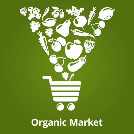 유기농 과일과 야채는 쇼핑 카트에 빠지지입니다. 벡터 일러스트 레이 션. 유기농 시장 일러스트