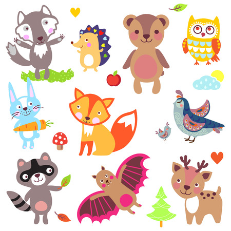 Forest animals set. Wolf, hedgehog, bear, owl, rabbit, fox, partridge, quail, raccoon, bat, deer