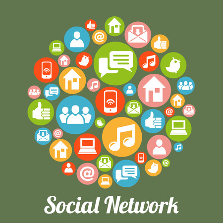 social media icons: Social media and network concept. Illustration