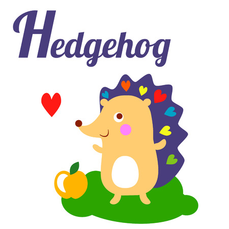 cartoon hedgehog: Cute animal alphabet. H letter. Cute cartoon Hedgehog. Alphabet design in a colorful style - stock vector Illustration