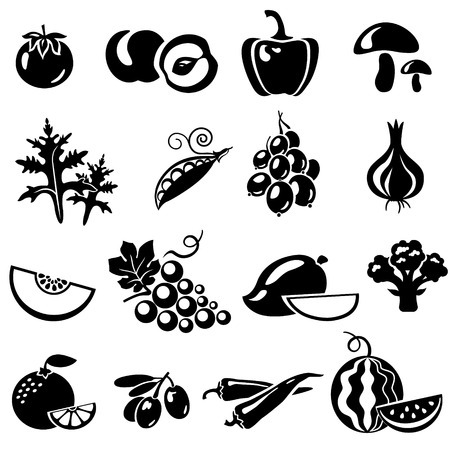 grapes and mushrooms: Set of fruits and vegetables: tomato, peach, onion, pepper, paprika, mushrooms, arugula, peas, beans, gooseberries, melon, grapes, mango, broccoli, orange, mandarin, olives, chili, watermelon. Vector illustration