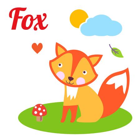 Cute animal alphabet. F letter. Cute cartoonFox. Alphabet design in a colorful style.