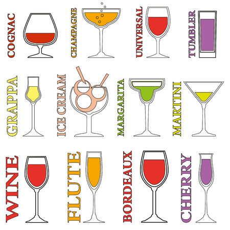Set of Alcohol Drinks icons. Tumblers set for alcohol drinks, cocktails and ice cream. Vettoriali