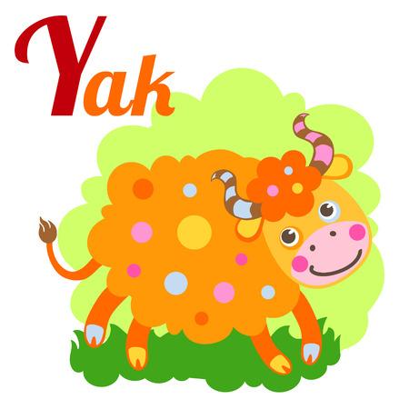 alfabeto con animales: alfabeto animal linda por un libro del abecedario. Ilustración vectorial de dibujos animados de yak. letra Y para el Yak.
