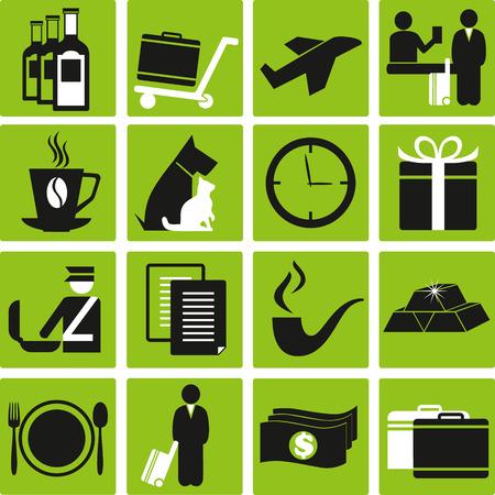 food inspection: Set of travel icons. Illustration
