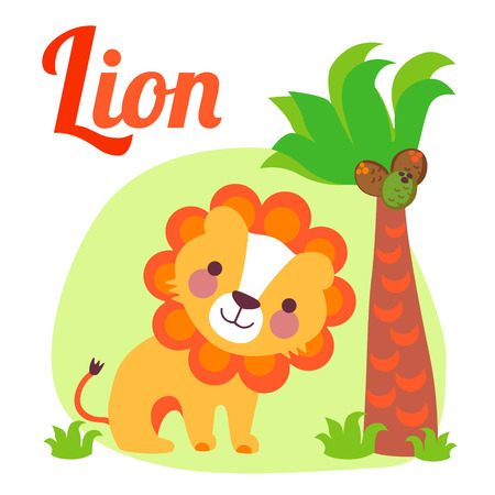 Cute animal alphabet for ABC book. Vector illustration of cartoon lion. l letter for the Lion