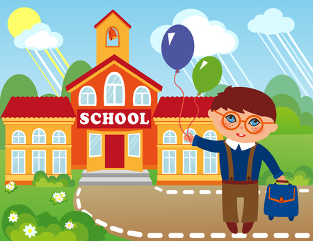 high school: Illustration of a schoolboy  infront of school building.