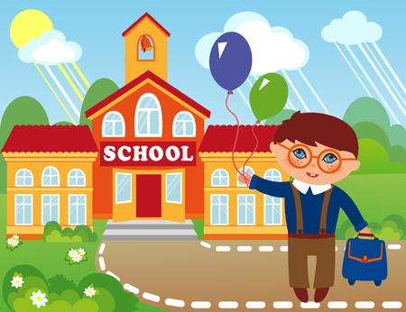 schoolyard: Illustration of a schoolboy  infront of school building.