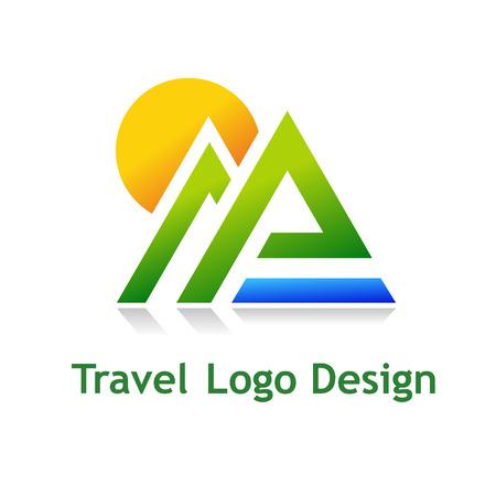 logo voyage: Logo de l'industrie touristique: hôtel, agence de Voyage, société de plein air. Illustration