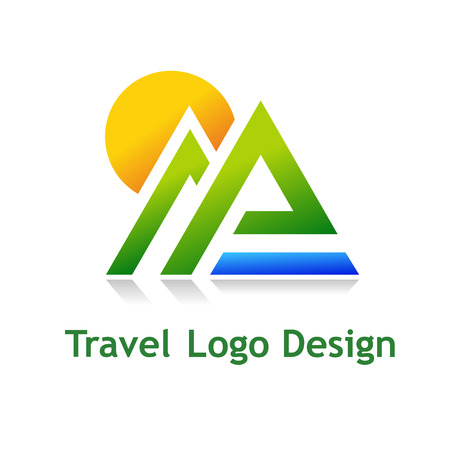 Logo for tourist industry: hotel, travel agency, outdoor company. Illustration