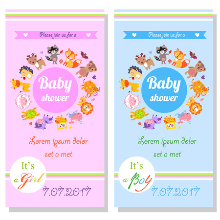 its a boy: Baby shower cards with cute animals. Its a girl and its a boy Illustration