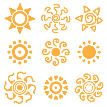 rooster at dawn: Set of sun icons. Star sign