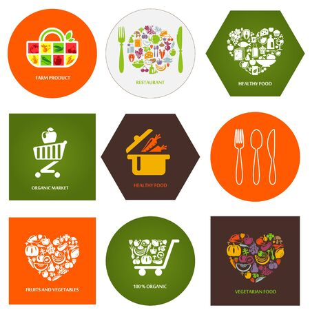 vegetarians: Set of design concept icons for food, organic market and restaurant. Fruits and vegetables icons, restaurant, healthy and vegetarian food.
