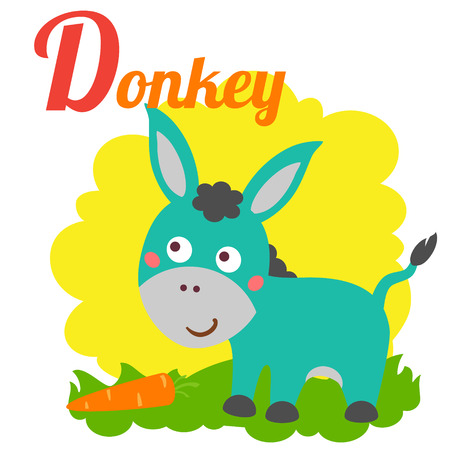 cute animal: Cute animal alphabet for ABC book. Vector illustration of cartoon donkey. D letter for the Donkey