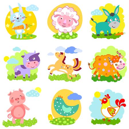 yak: Set of farm animals: rabbit, sheep, donkey, cow, horse, bull, yak, buffalo, pig, piggy, chicken, rooster Illustration