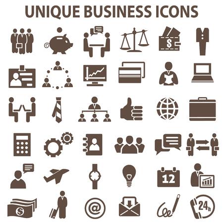 företag: Set med 36 unika affärs ikoner. Illustration