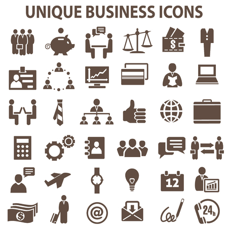 settings: Set of 36 unique business icons.