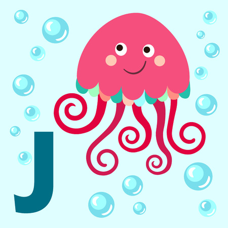 nettle: Cute animal alphabet for ABC book. Vector illustration of cartoon animals. Cute cartoon Jellyfish for J letter Illustration