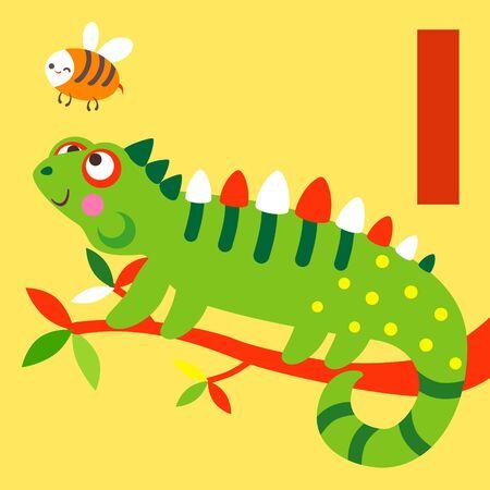 cute animals: Cute animal alphabet for ABC book. Vector illustration of cartoon animals. Cute Iguana for I letter