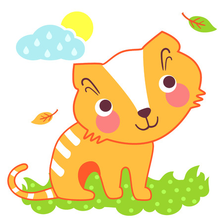 fall in love: A vector illustration of cute cat on meadow