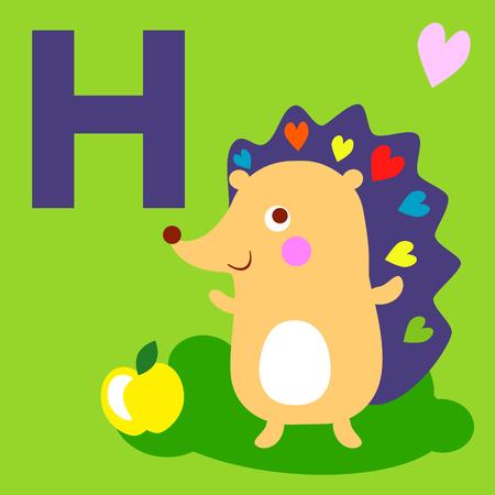 animal alphabet: Cute animal alphabet for ABC book. Vector illustration of cartoon animals. Cute Hedgehog for H letter