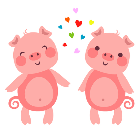 Vector illustration of Cute pigs in love with hearts Ilustração