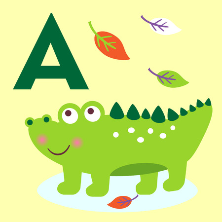 alligator cartoon: Cute animal alphabet for ABC book. Vector illustration of cartoon animals. Cute cartoon alligator for A letter
