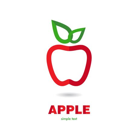 red leaves: Vector illustration of red apple icon with green leaves Illustration