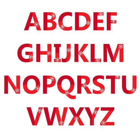 latin: Latin alphabet letters with snowflakes.