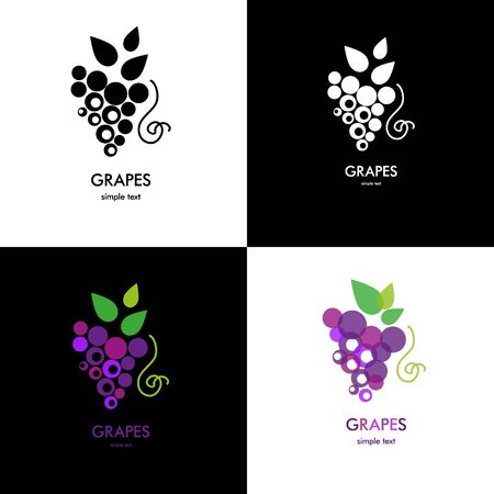 plant to drink: Organic grapes sign. Fruits and vegetables.