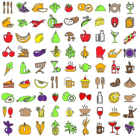 food and drinks: Set of food and drinks icons Illustration