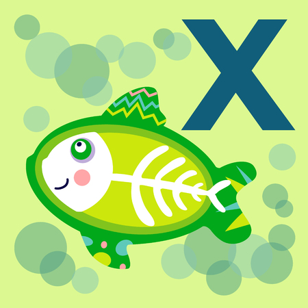 x xray: Cute animal alphabet for ABC book. Vector illustration of cartoon animals. Cute cartoon X-ray Fish for X letter. Cute animal vector. Cute animal EPS Illustration
