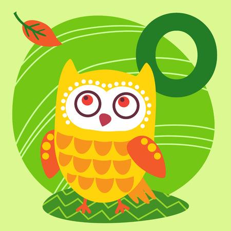 animal alphabet: Cute animal alphabet for ABC book. Vector illustration of cartoon animals. Cute cartoon Owl for O letter