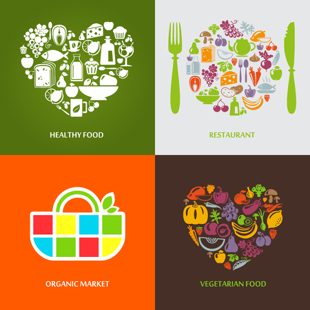 olive farm: Set of design concept icons for food, organic market and restaurant. Fruits and vegetables icons, restaurant, healthy and vegetarian food.