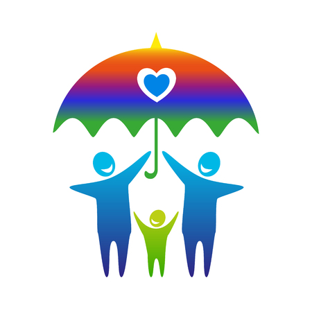 adopting: Gay family vector icon. Illustration
