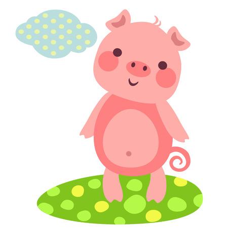 풀밭에 귀여운 돼지의 벡터 일러스트 레이 션. 작은 웃는 돼지 일러스트