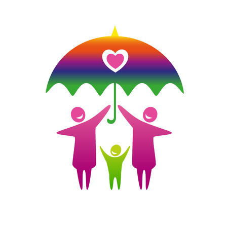 gay family: Gay family vector icon. Illustration